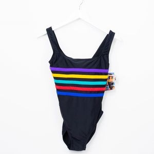 Vintage 80s Speedo Swimsuit Rainbow Striped 10